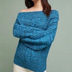 Anthro Sleeping on Snow Chunky Cable knit sweater